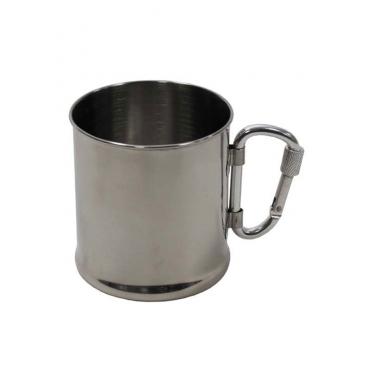 Puodelis iš nerūdijančio plieno su karabinu, 220 ml