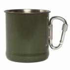 Puodelis iš nerūdijančio plieno su karabinu, 250 ml, ŽALIAS