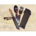 Komplektas su dėklu: daugiafunkcinis peilis ir valgymo įrankiai