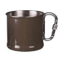 Puodelis iš nerūdijančio plieno su karabinu, 500 ml, ŽALIAS